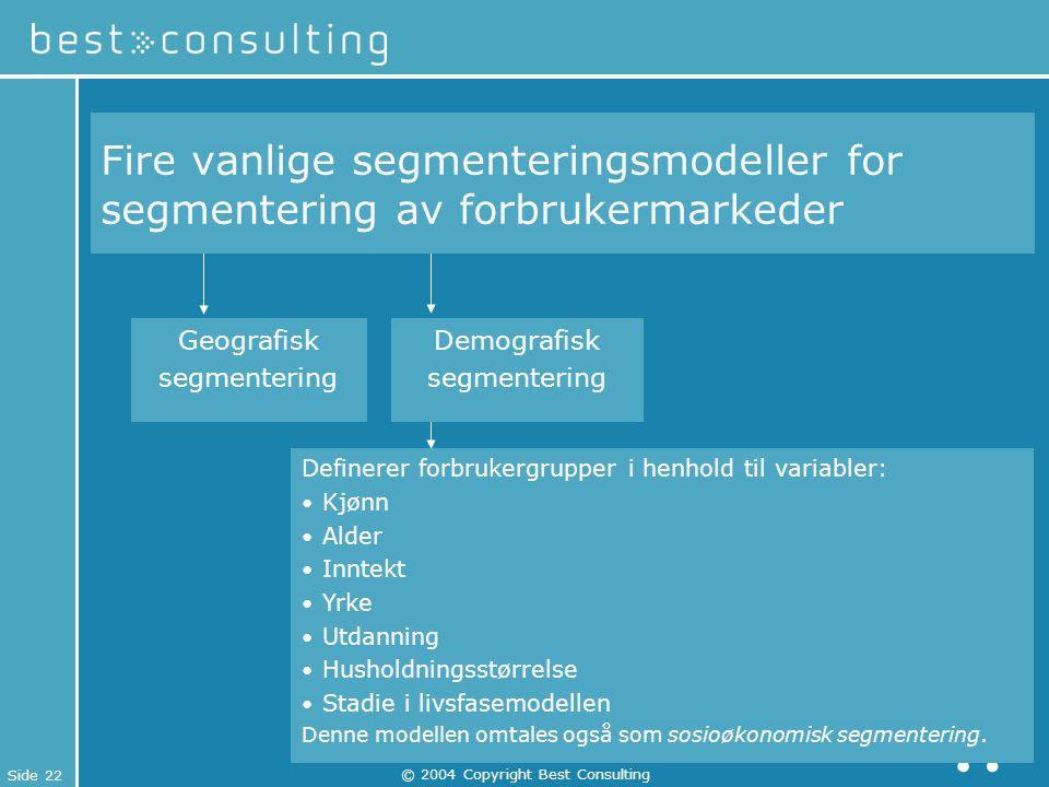 Side 22 © 2004 Copyright Best Consulting Definerer forbrukergrupper i henhold til variabler: Kjønn Alder Inntekt Yrke Utdanning Husholdningsstørrelse
