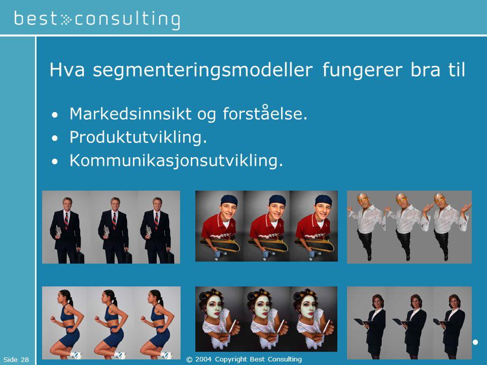 Side 28 © 2004 Copyright Best Consulting Hva segmenteringsmodeller fungerer bra til Markedsinnsikt og forståelse. Produktutvikling. Kommunikasjonsutvi