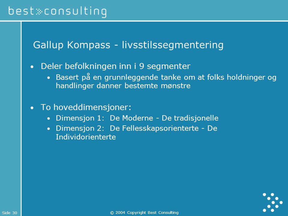 Side 30 © 2004 Copyright Best Consulting Gallup Kompass - livsstilssegmentering Deler befolkningen inn i 9 segmenter Basert på en grunnleggende tanke