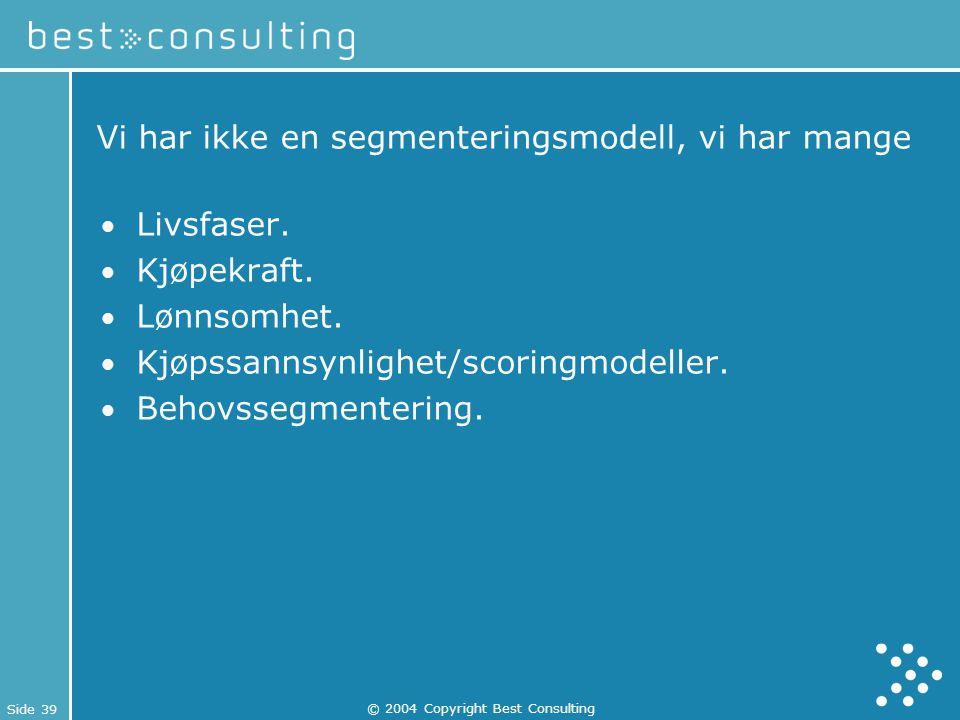 Side 39 © 2004 Copyright Best Consulting Vi har ikke en segmenteringsmodell, vi har mange Livsfaser. Kjøpekraft. Lønnsomhet. Kjøpssannsynlighet/scorin