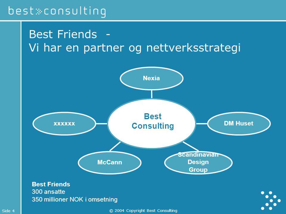 Side 4 © 2004 Copyright Best Consulting xxxxxx McCann Nexia Scandinavian Design Group DM Huset Best Friends - Vi har en partner og nettverksstrategi B
