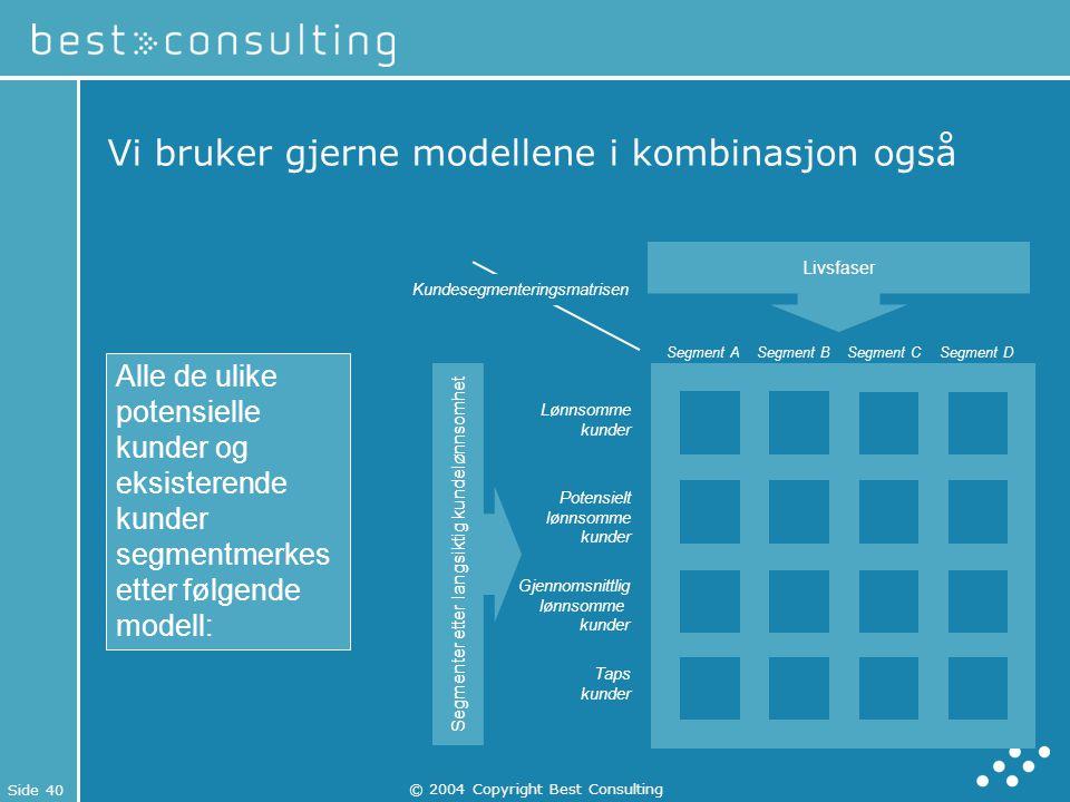 Side 40 © 2004 Copyright Best Consulting Vi bruker gjerne modellene i kombinasjon også Livsfaser Segmenter etter langsiktig kundelønnsomhet Lønnsomme