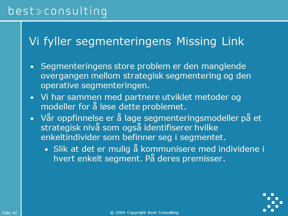 Side 42 © 2004 Copyright Best Consulting Vi fyller segmenteringens Missing Link Segmenteringens store problem er den manglende overgangen mellom strat