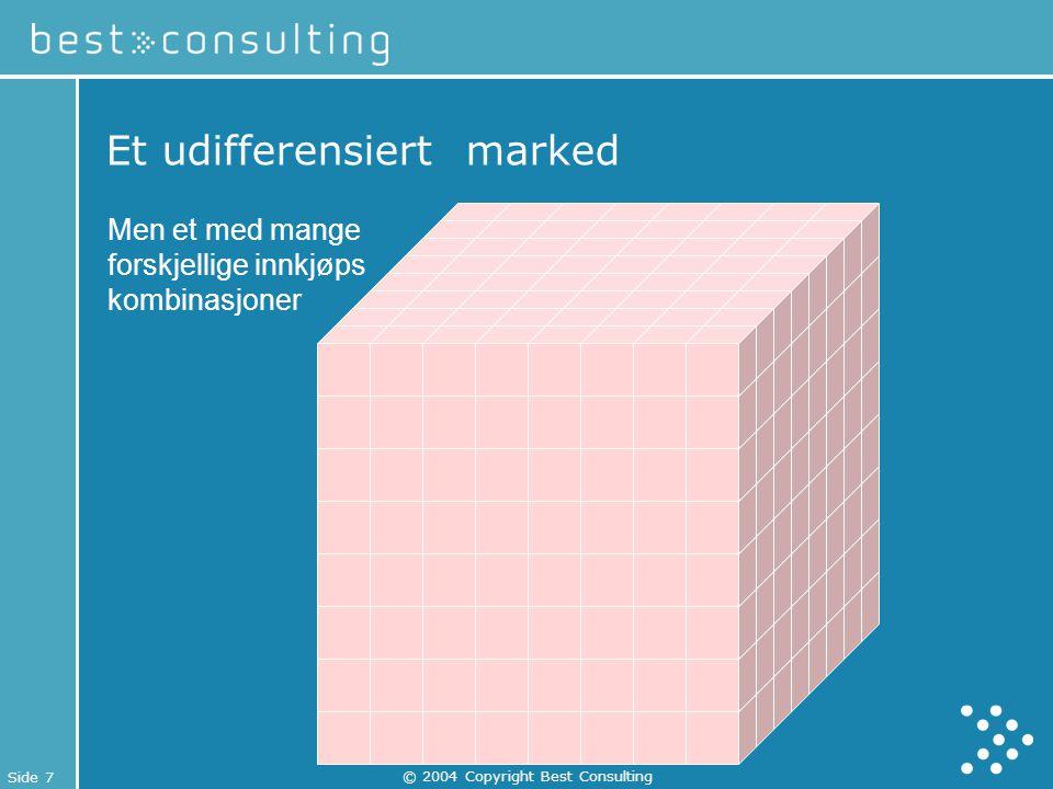 Side 7 © 2004 Copyright Best Consulting Et udifferensiert marked Men et med mange forskjellige innkjøps kombinasjoner