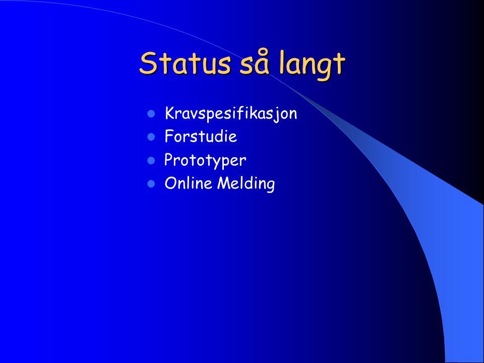 Status så langt Kravspesifikasjon Forstudie Prototyper Online Melding