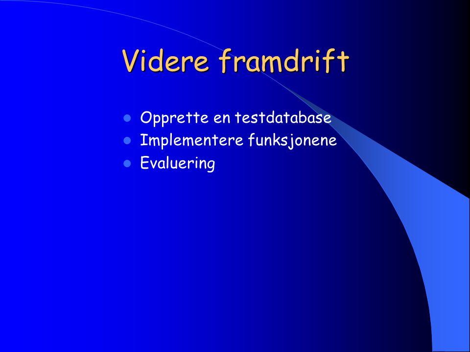 Videre framdrift Opprette en testdatabase Implementere funksjonene Evaluering