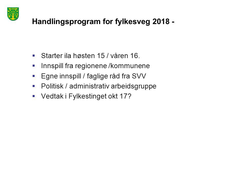 Handlingsprogram for fylkesveg 2018 -  Starter ila høsten 15 / våren 16.  Innspill fra regionene /kommunene  Egne innspill / faglige råd fra SVV 