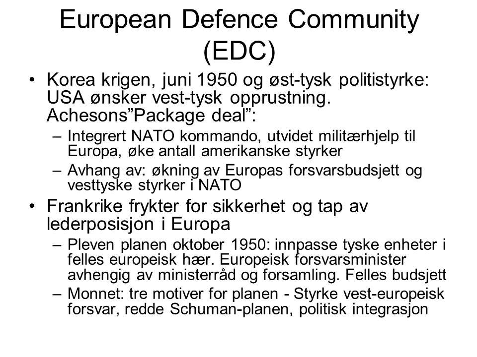 European Defence Community (EDC) Korea krigen, juni 1950 og øst-tysk politistyrke: USA ønsker vest-tysk opprustning.