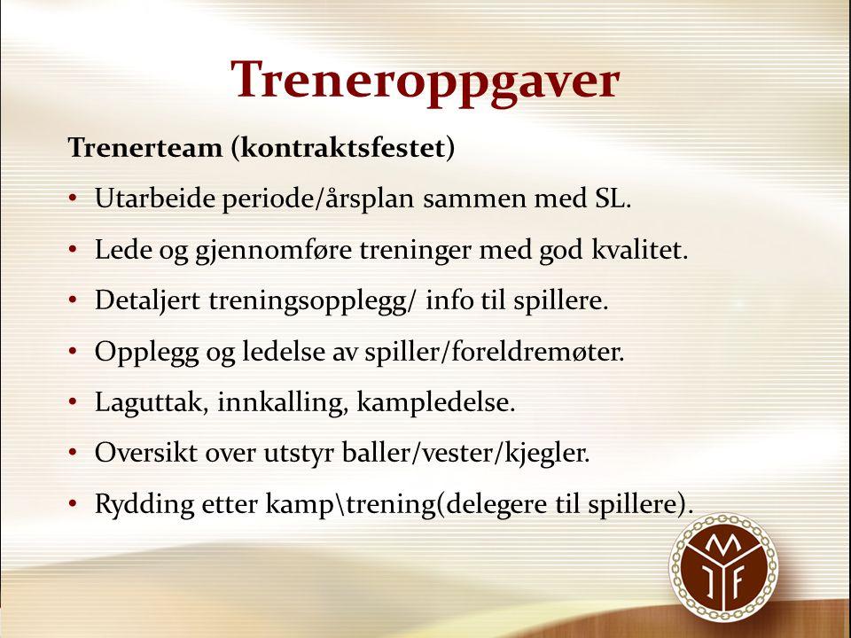 Treneroppgaver Trenerteam (kontraktsfestet) Utarbeide periode/årsplan sammen med SL. Lede og gjennomføre treninger med god kvalitet. Detaljert trening