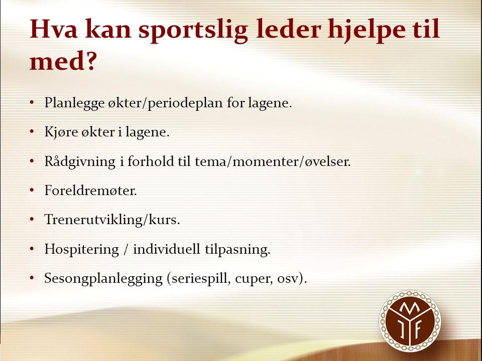 Hva kan sportslig leder hjelpe til med? Planlegge økter/periodeplan for lagene. Kjøre økter i lagene. Rådgivning i forhold til tema/momenter/øvelser.