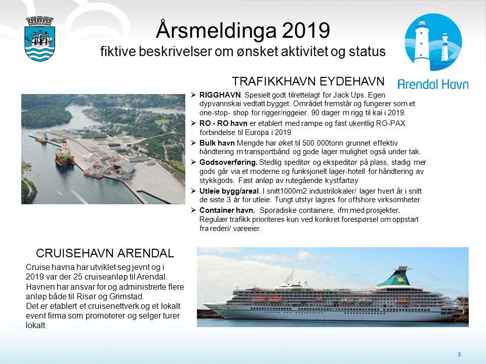 Årsmeldinga 2019 fiktive beskrivelser om ønsket aktivitet og status 3 CRUISEHAVN ARENDAL Cruise havna har utviklet seg jevnt og i 2019 var der 25 crui