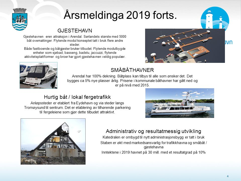 Årsmeldinga 2019 forts. 4 GJESTEHAVN Gjestehavnen eren attraksjon i Arendal. Sørlandets største med 5000 båt overnattinger. Flytende modul konseptet t