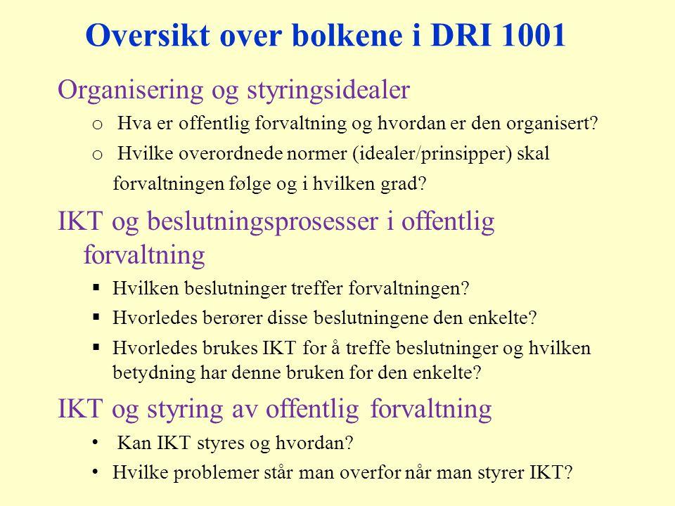 Oversikt over bolkene i DRI 1001 Organisering og styringsidealer o Hva er offentlig forvaltning og hvordan er den organisert.
