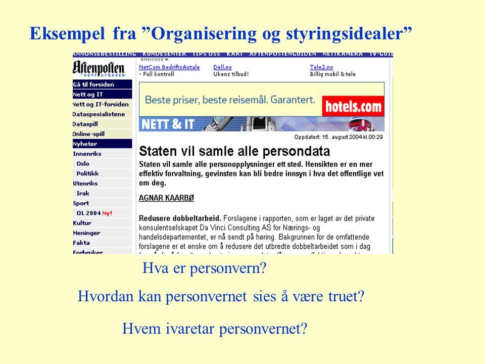 Eksempel fra Organisering og styringsidealer Hva er personvern.