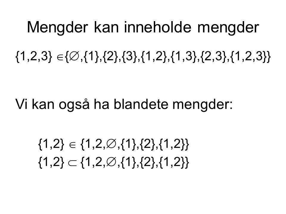 Mengder kan inneholde mengder {1,2,3}  { ,{1},{2},{3},{1,2},{1,3},{2,3},{1,2,3}} Vi kan også ha blandete mengder: {1,2}  {1,2, ,{1},{2},{1,2}} {1,