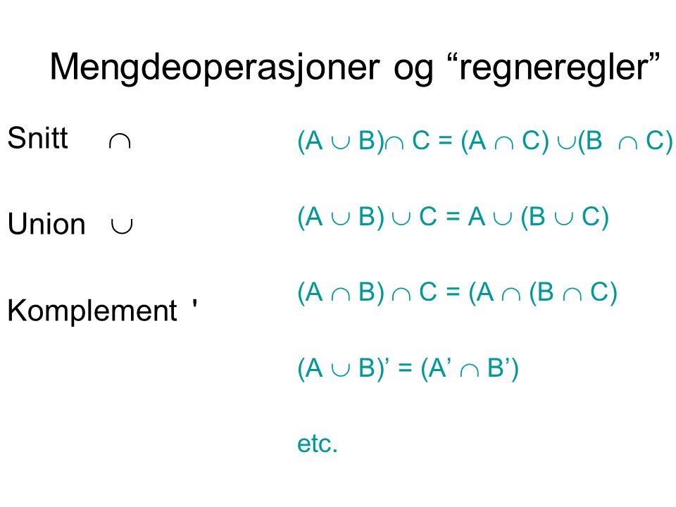 """Mengdeoperasjoner og """"regneregler"""" Snitt  Union  Komplement ' (A  B)  C = (A  C)  (B  C) (A  B)  C = A  (B  C) (A  B)  C = (A  (B  C) ("""