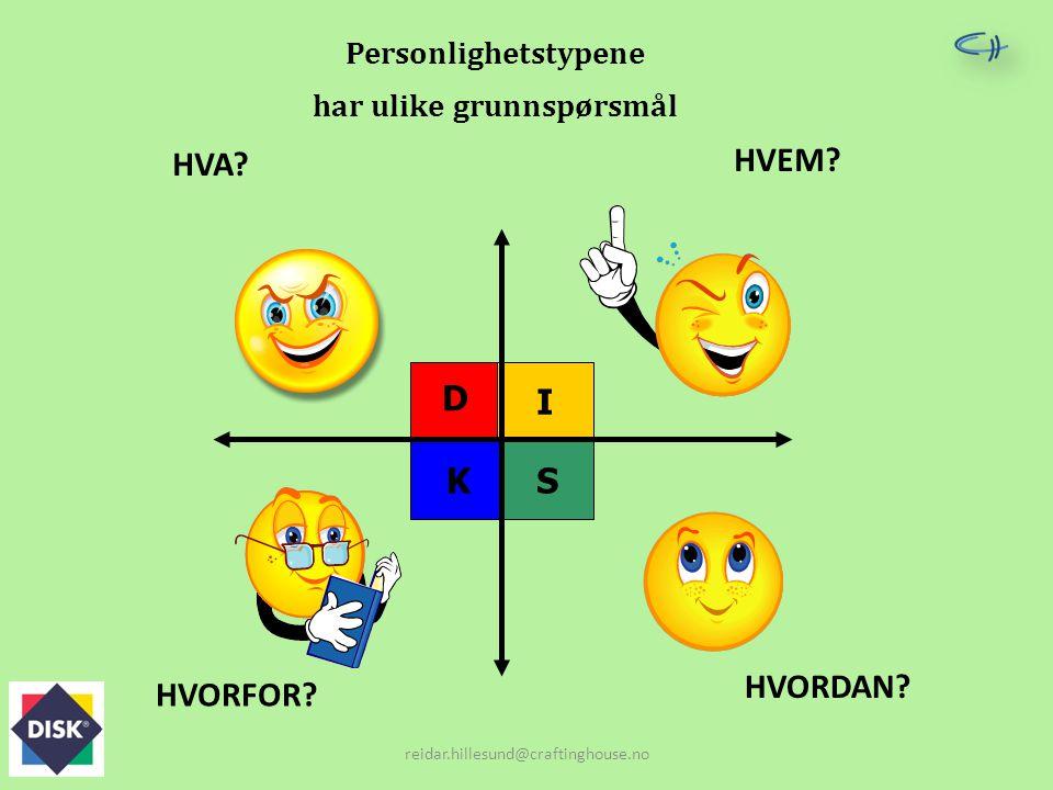 Personlighetstypene har ulike grunnspørsmål I KS D HVA? HVEM? HVORFOR? HVORDAN? reidar.hillesund@craftinghouse.no