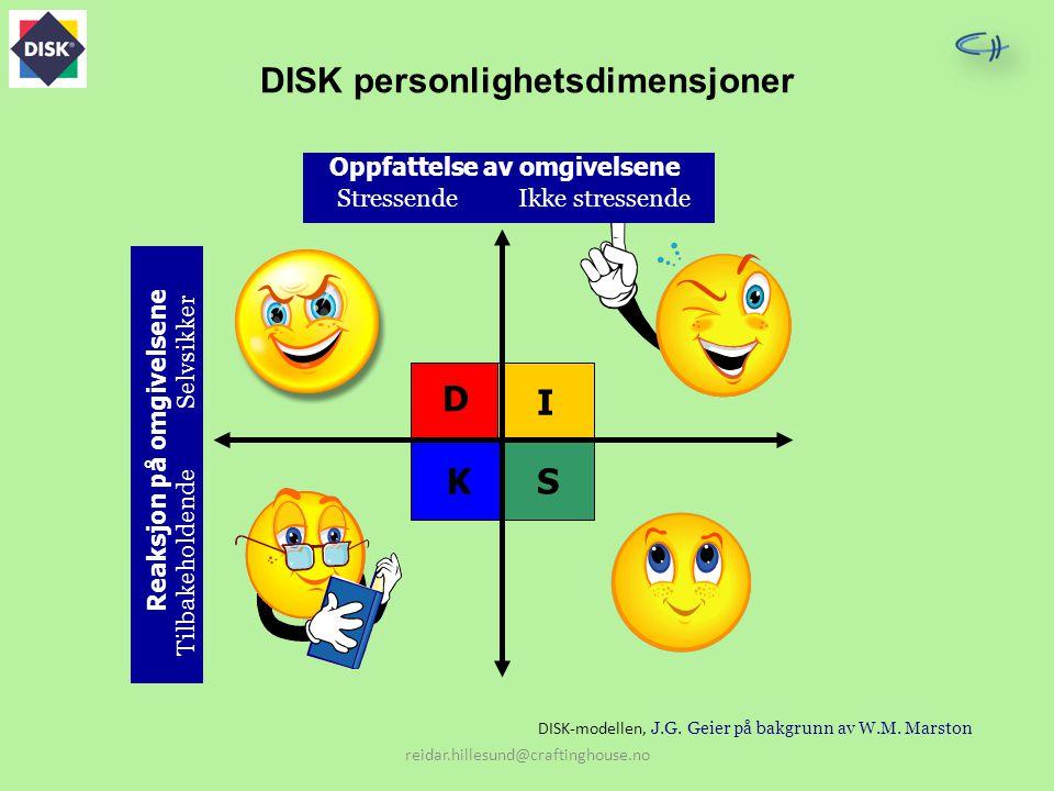 DISK personlighetsdimensjoner I KS D Oppfattelse av omgivelsene StressendeIkke stressende Reaksjon på omgivelsene Selvsikker Tilbakeholdende reidar.hi