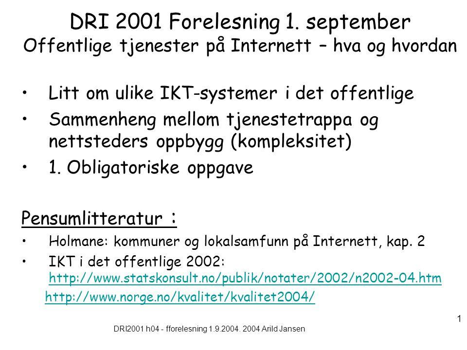 DRI2001 h04 - fforelesning 1.9.2004. 2004 Arild Jansen 1 DRI 2001 Forelesning 1.