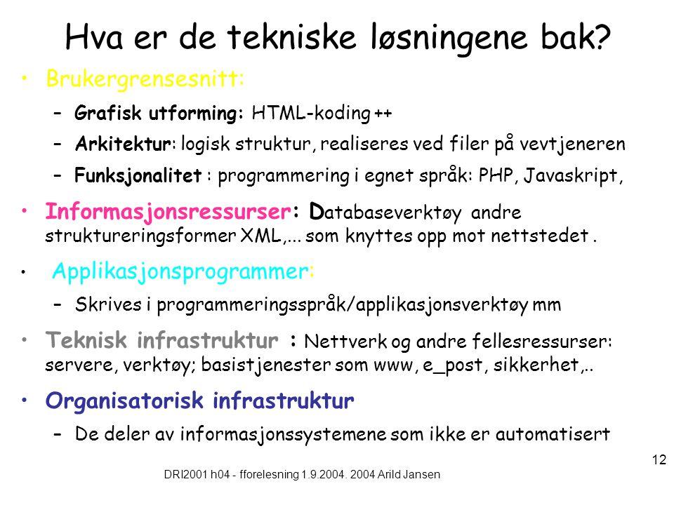 DRI2001 h04 - fforelesning 1.9.2004. 2004 Arild Jansen 12 Hva er de tekniske løsningene bak.