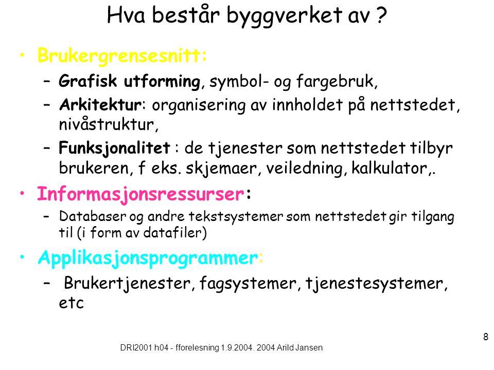 DRI2001 h04 - fforelesning 1.9.2004. 2004 Arild Jansen 8 Hva består byggverket av .
