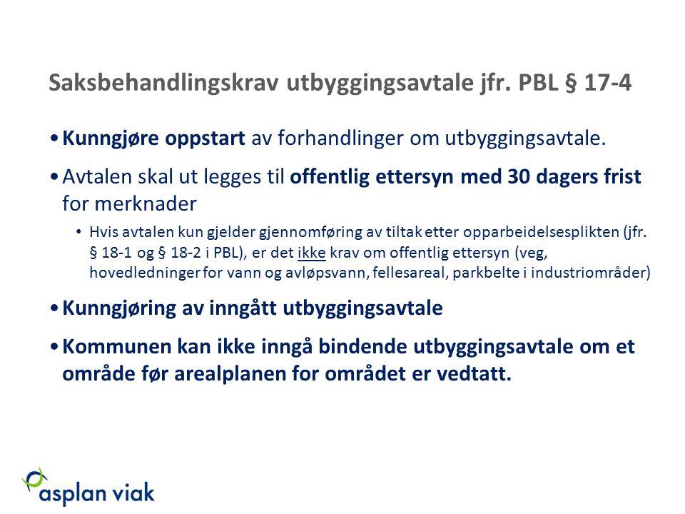 Saksbehandlingskrav utbyggingsavtale jfr. PBL § 17-4 Kunngjøre oppstart av forhandlinger om utbyggingsavtale. Avtalen skal ut legges til offentlig ett