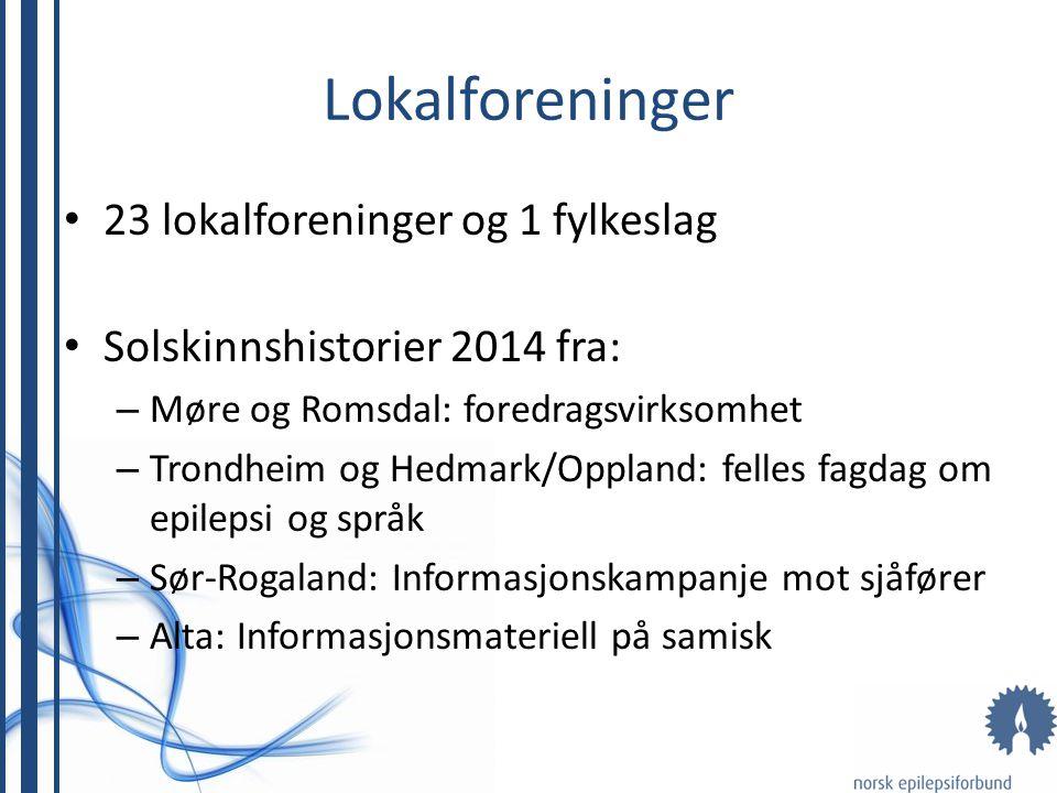 Lokalforeninger 23 lokalforeninger og 1 fylkeslag Solskinnshistorier 2014 fra: – Møre og Romsdal: foredragsvirksomhet – Trondheim og Hedmark/Oppland: