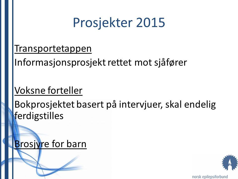 Prosjekter 2015 Transportetappen Informasjonsprosjekt rettet mot sjåfører Voksne forteller Bokprosjektet basert på intervjuer, skal endelig ferdigstil