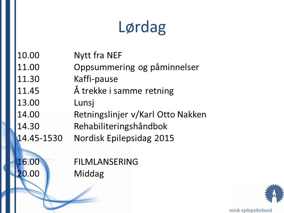 Lørdag 10.00Nytt fra NEF 11.00Oppsummering og påminnelser 11.30Kaffi-pause 11.45Å trekke i samme retning 13.00Lunsj 14.00Retningslinjer v/Karl Otto Na