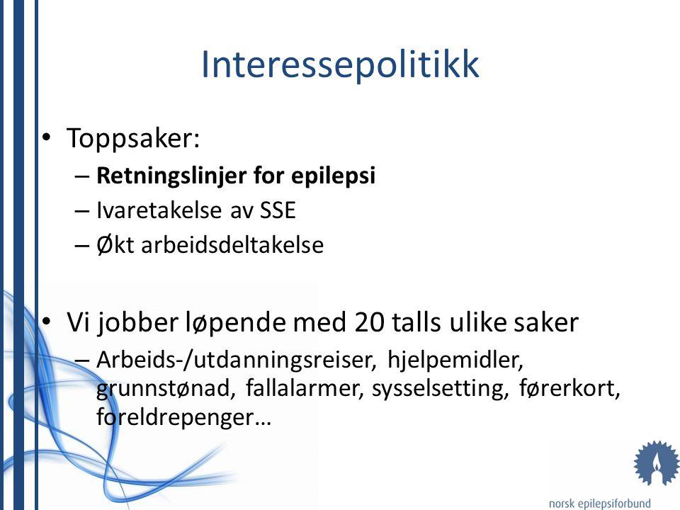 Interessepolitikk Toppsaker: – Retningslinjer for epilepsi – Ivaretakelse av SSE – Økt arbeidsdeltakelse Vi jobber løpende med 20 talls ulike saker –