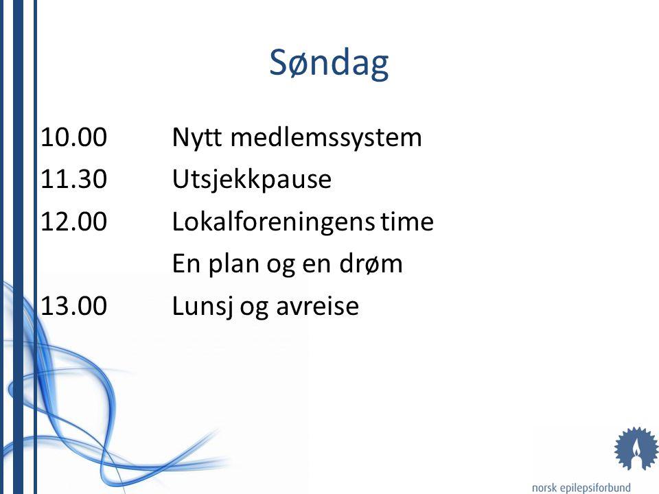 Søndag 10.00Nytt medlemssystem 11.30Utsjekkpause 12.00Lokalforeningens time En plan og en drøm 13.00Lunsj og avreise
