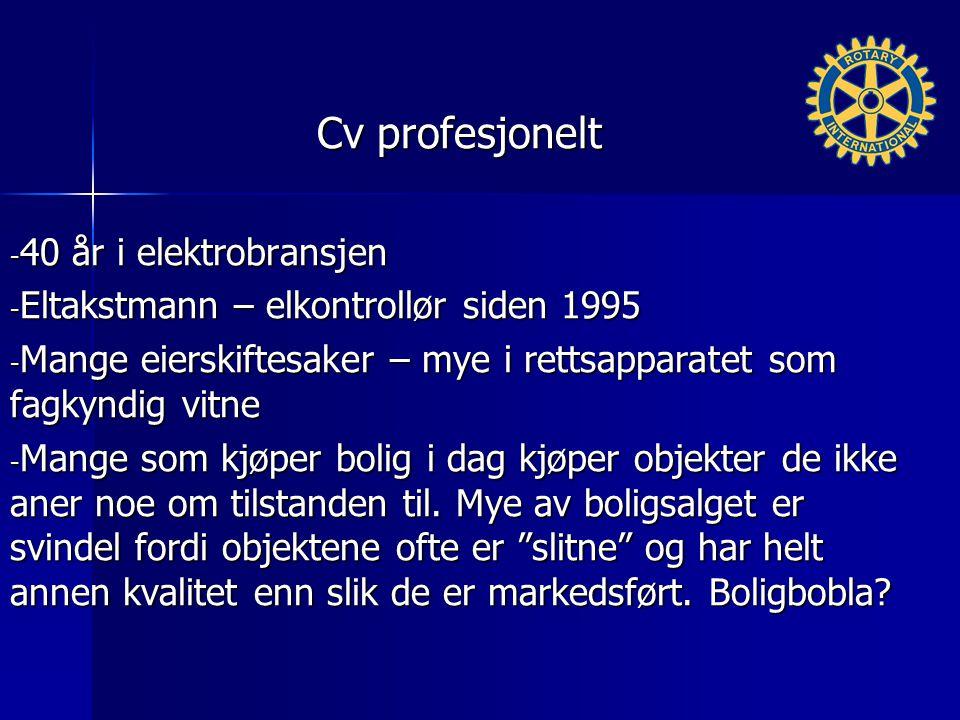 Cv profesjonelt - 40 år i elektrobransjen - Eltakstmann – elkontrollør siden 1995 - Mange eierskiftesaker – mye i rettsapparatet som fagkyndig vitne - Mange som kjøper bolig i dag kjøper objekter de ikke aner noe om tilstanden til.
