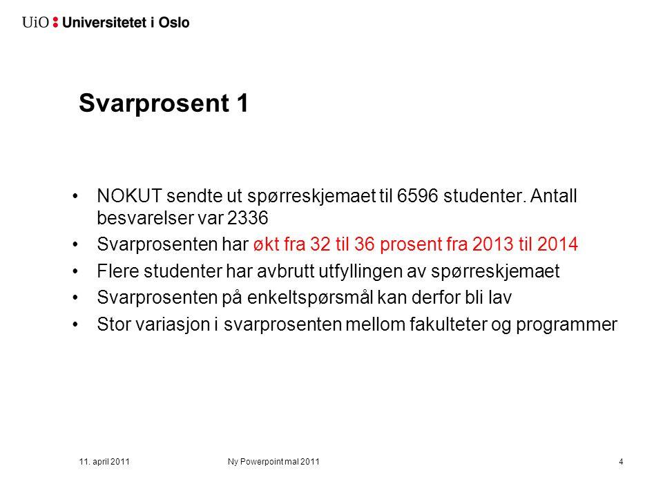 Svarprosent 1 NOKUT sendte ut spørreskjemaet til 6596 studenter. Antall besvarelser var 2336 Svarprosenten har økt fra 32 til 36 prosent fra 2013 til