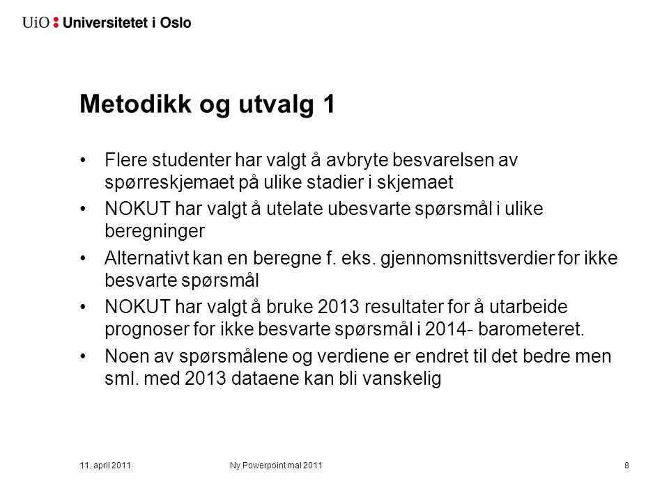 Metodikk og utvalg 1 Flere studenter har valgt å avbryte besvarelsen av spørreskjemaet på ulike stadier i skjemaet NOKUT har valgt å utelate ubesvarte