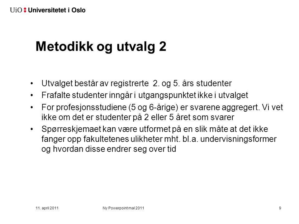 Metodikk og utvalg 2 Utvalget består av registrerte 2. og 5. års studenter Frafalte studenter inngår i utgangspunktet ikke i utvalget For profesjonsst