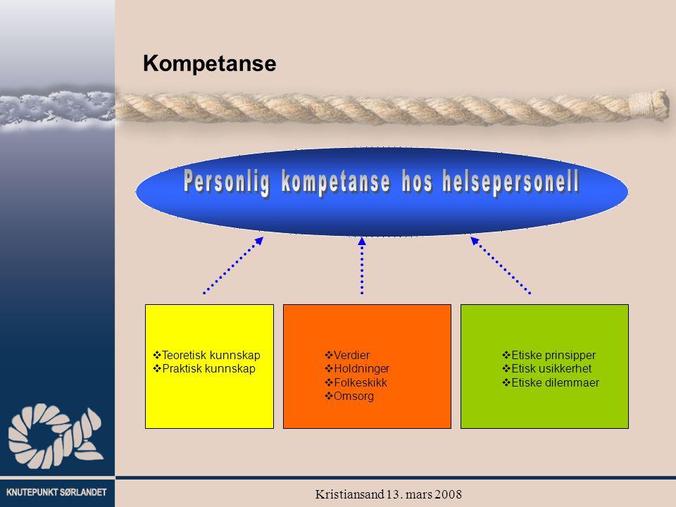 Kristiansand 13. mars 2008 Kompetanse  Teoretisk kunnskap  Praktisk kunnskap  Etiske prinsipper  Etisk usikkerhet  Etiske dilemmaer  Verdier  H