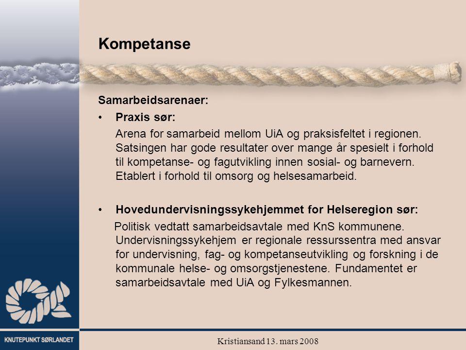 Kristiansand 13. mars 2008 Kompetanse Samarbeidsarenaer: Praxis sør: Arena for samarbeid mellom UiA og praksisfeltet i regionen. Satsingen har gode re