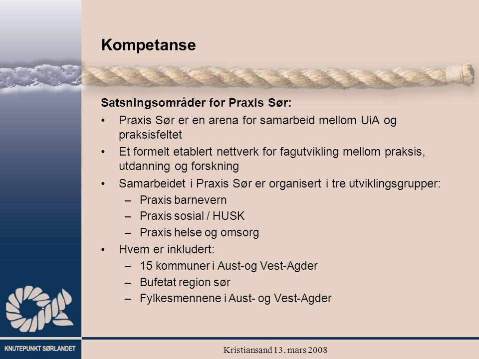 Kristiansand 13. mars 2008 Kompetanse Satsningsområder for Praxis Sør: Praxis Sør er en arena for samarbeid mellom UiA og praksisfeltet Et formelt eta