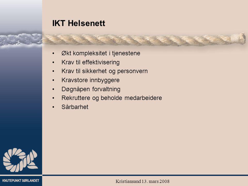 Kristiansand 13. mars 2008 IKT Helsenett Økt kompleksitet i tjenestene Krav til effektivisering Krav til sikkerhet og personvern Kravstore innbyggere