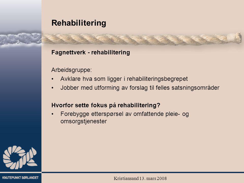 Kristiansand 13. mars 2008 Rehabilitering Fagnettverk - rehabilitering Arbeidsgruppe: Avklare hva som ligger i rehabiliteringsbegrepet Jobber med utfo