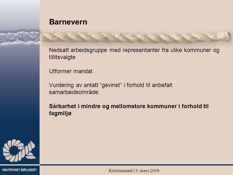 Kristiansand 13. mars 2008 Barnevern Nedsatt arbeidsgruppe med representanter fra ulike kommuner og tillitsvalgte Utformer mandat Vurdering av antatt