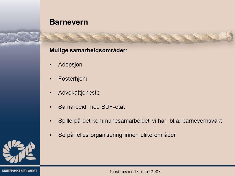 Kristiansand 13. mars 2008 Barnevern Mulige samarbeidsområder: Adopsjon Fosterhjem Advokattjeneste Samarbeid med BUF-etat Spille på det kommunesamarbe