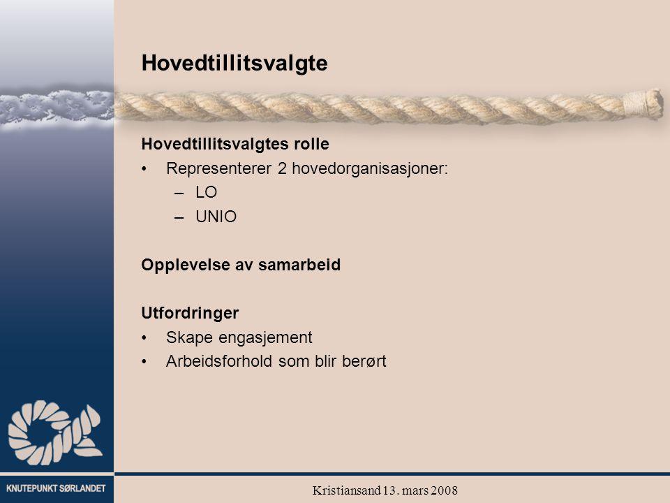 Kristiansand 13. mars 2008 Hovedtillitsvalgte Hovedtillitsvalgtes rolle Representerer 2 hovedorganisasjoner: –LO –UNIO Opplevelse av samarbeid Utfordr