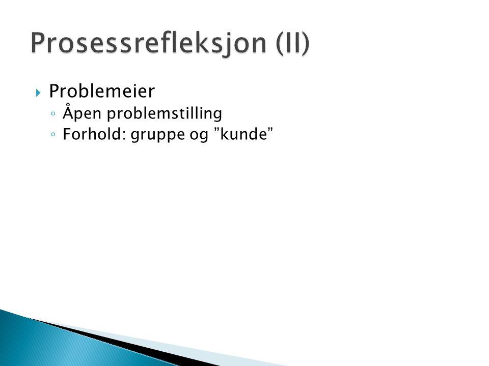  Problemeier ◦ Åpen problemstilling ◦ Forhold: gruppe og kunde