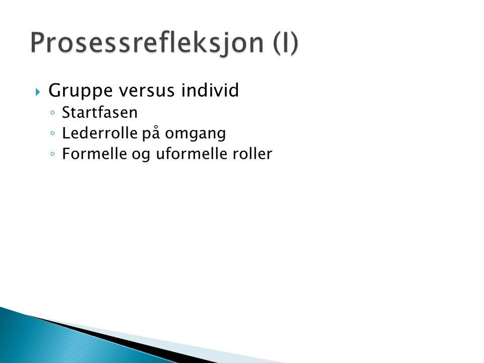  Gruppe versus individ ◦ Startfasen ◦ Lederrolle på omgang ◦ Formelle og uformelle roller