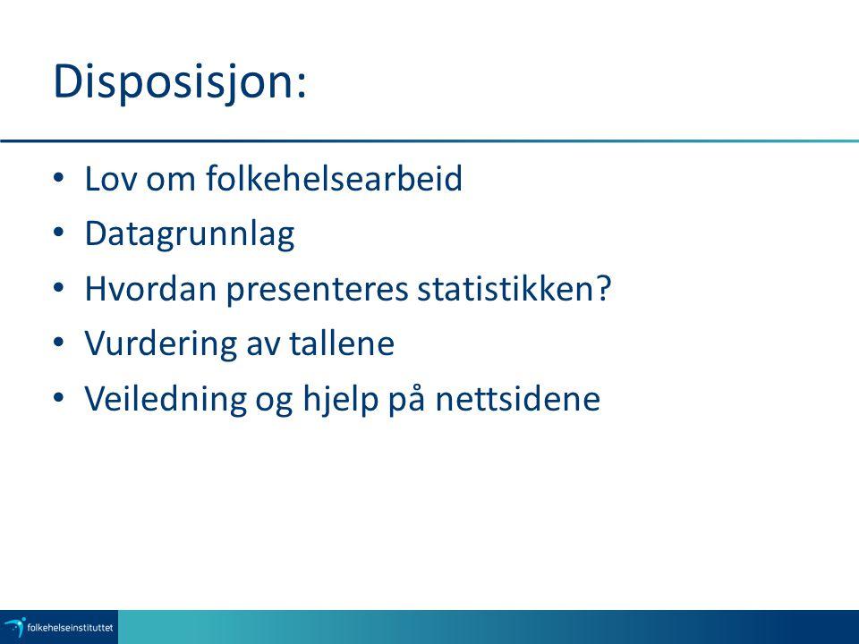 Lov om folkehelsearbeid: Kommunen (§ 5): Skal ha nødvendig oversikt over helsetilstanden i befolkningen og de positive og negative faktorer som kan virke inn på denne.