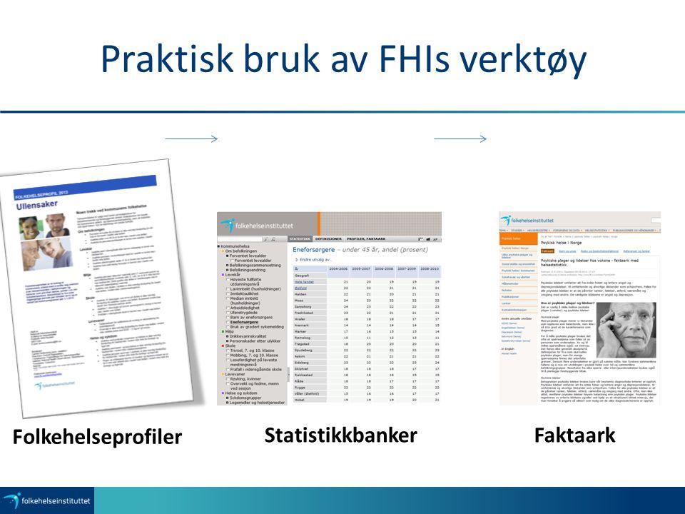 Folkehelseprofiler StatistikkbankerFaktaark Praktisk bruk av FHIs verktøy