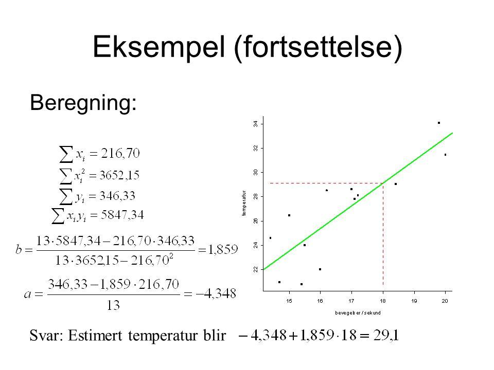 Eksempel (fortsettelse) Beregning: Svar: Estimert temperatur blir
