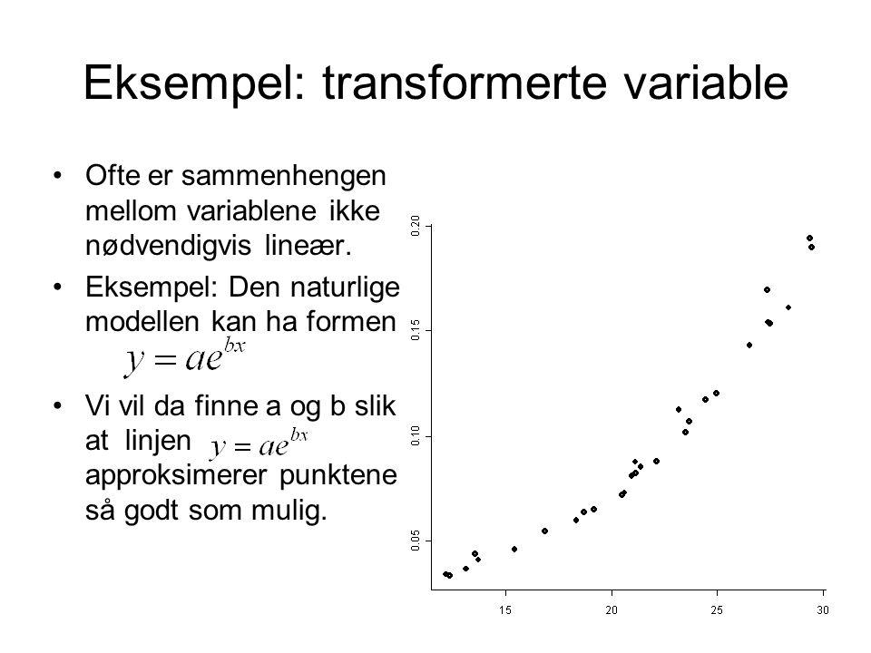Eksempel: transformerte variable Ofte er sammenhengen mellom variablene ikke nødvendigvis lineær. Eksempel: Den naturlige modellen kan ha formen Vi vi