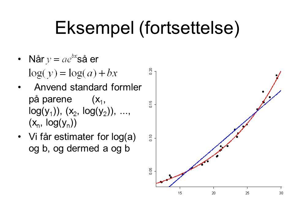 Eksempel (fortsettelse) Når så er Anvend standard formler på parene (x 1, log(y 1 )), (x 2, log(y 2 )),..., (x n, log(y n )) Vi får estimater for log(